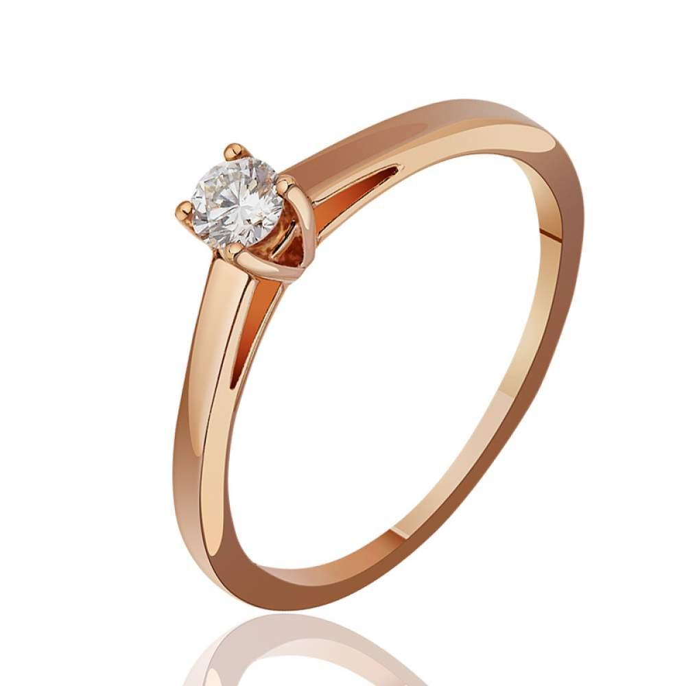 """Золотое кольцо с бриллиантом """"Воплощение изысканности"""", КД7464 Eurogold"""
