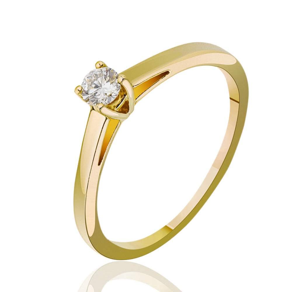 """Кольцо из желтого золота с бриллиантом """"Воплощение изысканности"""", КД7464/2 Eurogold"""