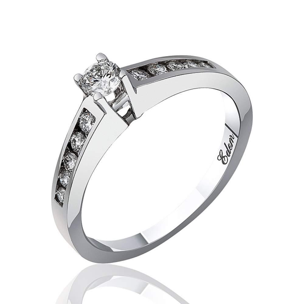"""Кольцо из белого золота с бриллиантами """"Пламенная страсть"""", КД7470/1 Eurogold"""