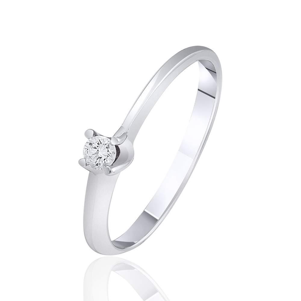"""Кольцо из белого золота с бриллиантом """"Классика"""", КД7473/1 Eurogold"""