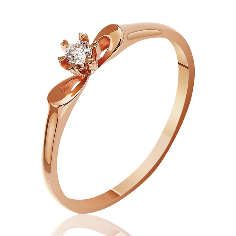 """Золотое кольцо тонкое с бриллиантом """"Бриллиантовая сфера"""", КД7490 Eurogold"""