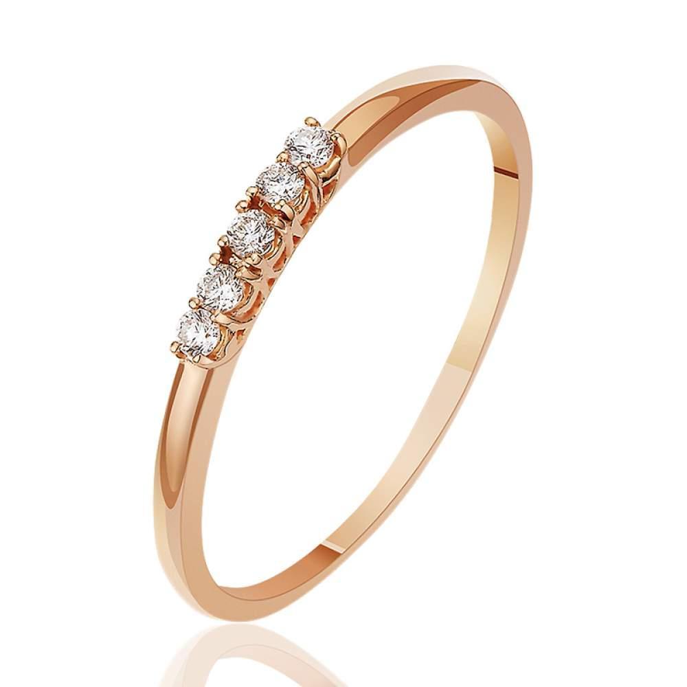 """Золотое кольцо с пятью бриллиантами """"Формула успеха"""" , красное золото, КД7492 Eurogold"""