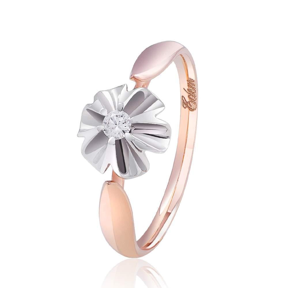 """Кольцо из комбинированного золота с бриллиантом """"Орхидея"""", КД7496 Eurogold"""