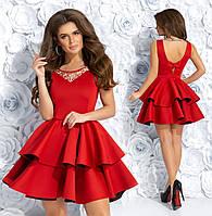 Нарядное красное платье с вышивкой. Р-р: 44-46.