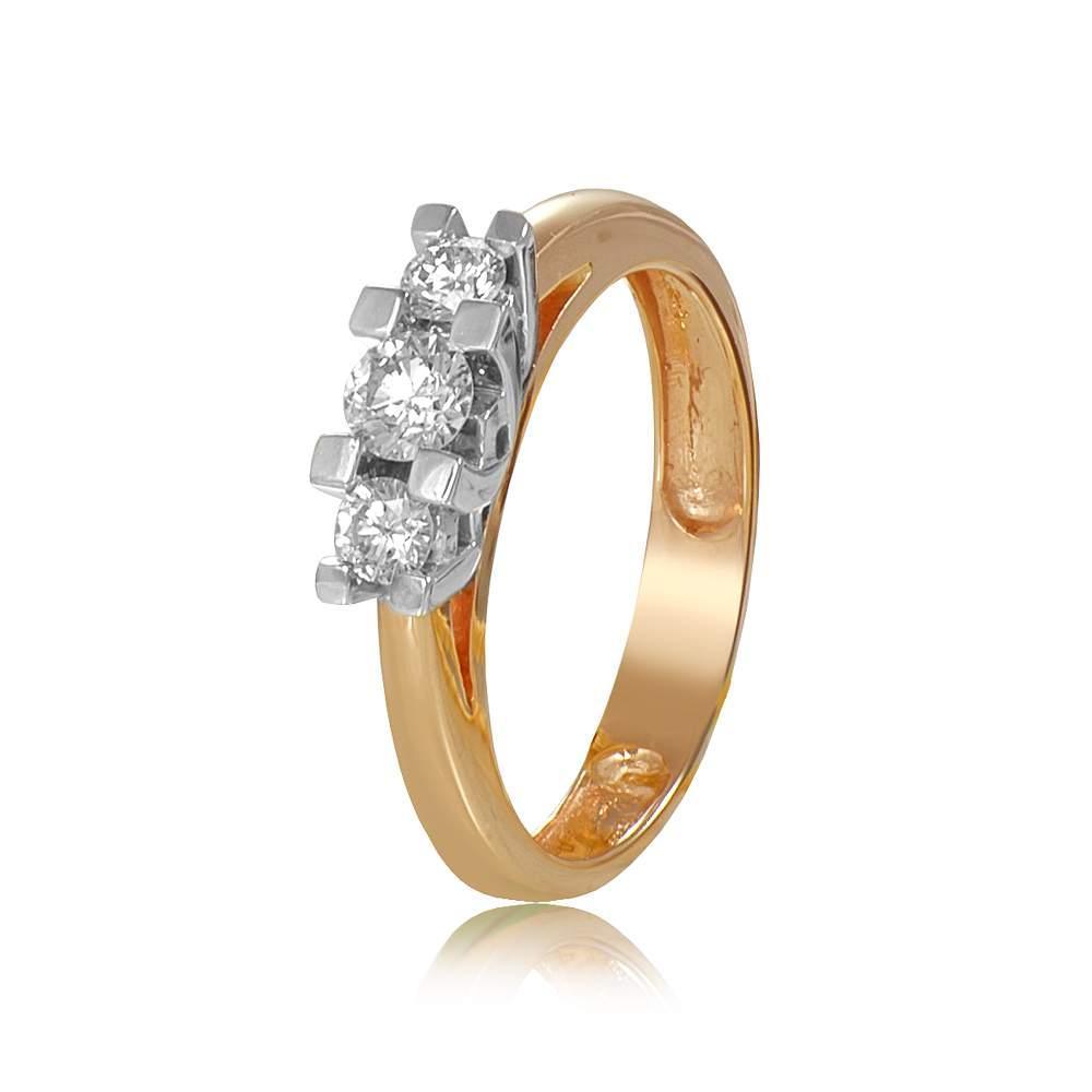 """Кольцо из комбинированного золота с тремя бриллиантами """"Поэзия"""", КД7545 Eurogold"""