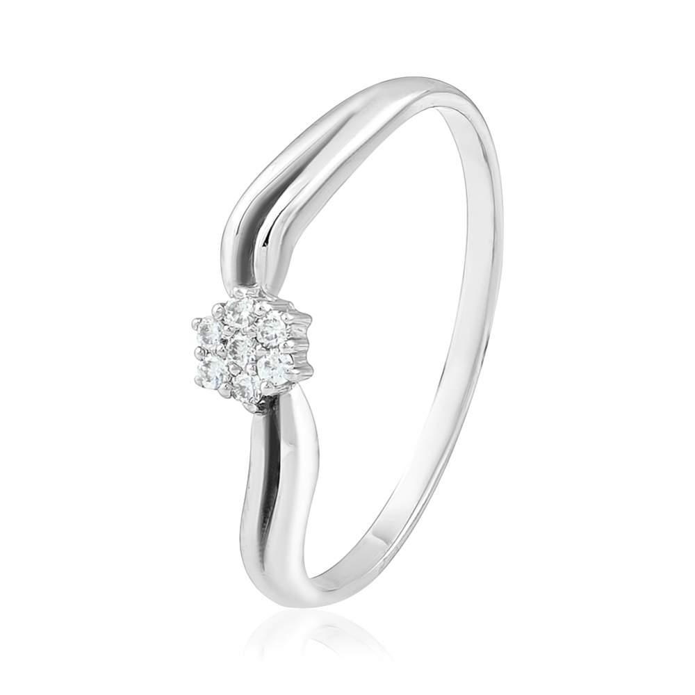 """Кольцо из белого золота с бриллиантом """"Нидерланды"""", КД7548/1 Eurogold"""