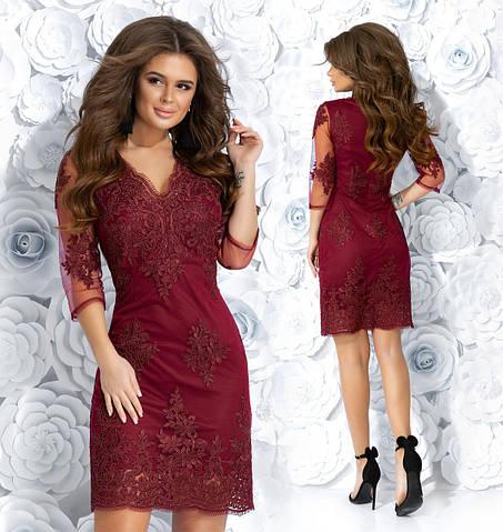 3773358aaac Купить Приталенное платье с вышивкой на сеточке. Бордовое