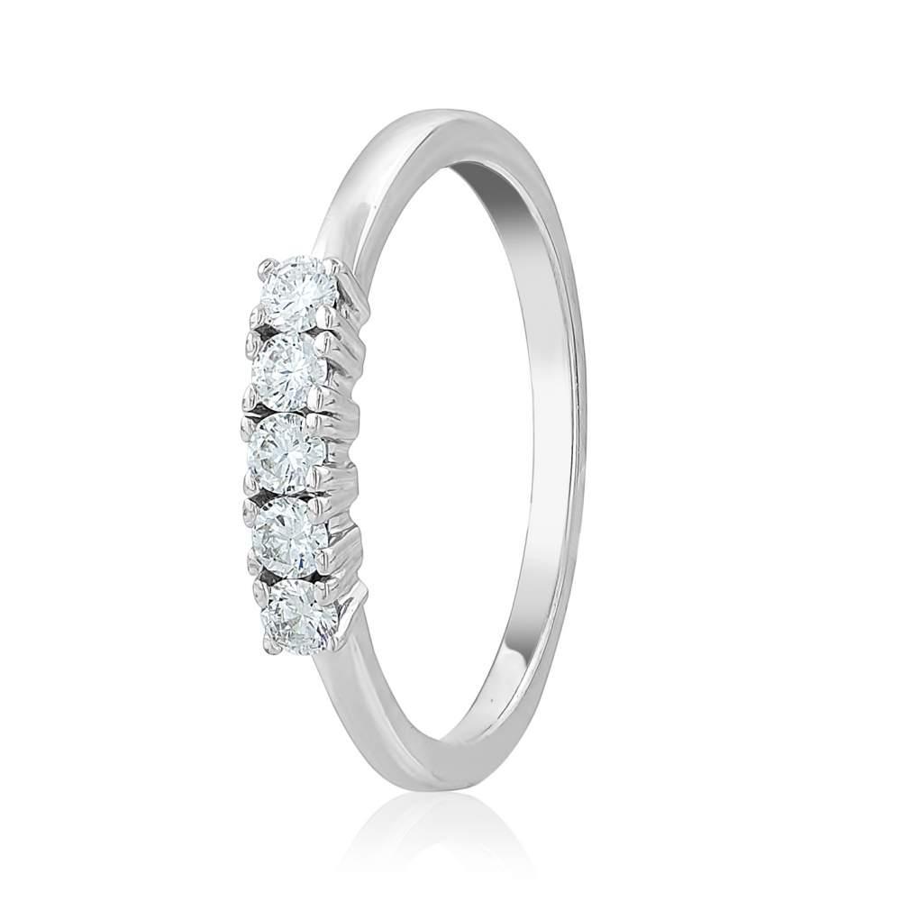 """Кольцо из белого золота с пятью бриллиантами """"Нежное мгновение"""", КД7574/1 Eurogold"""