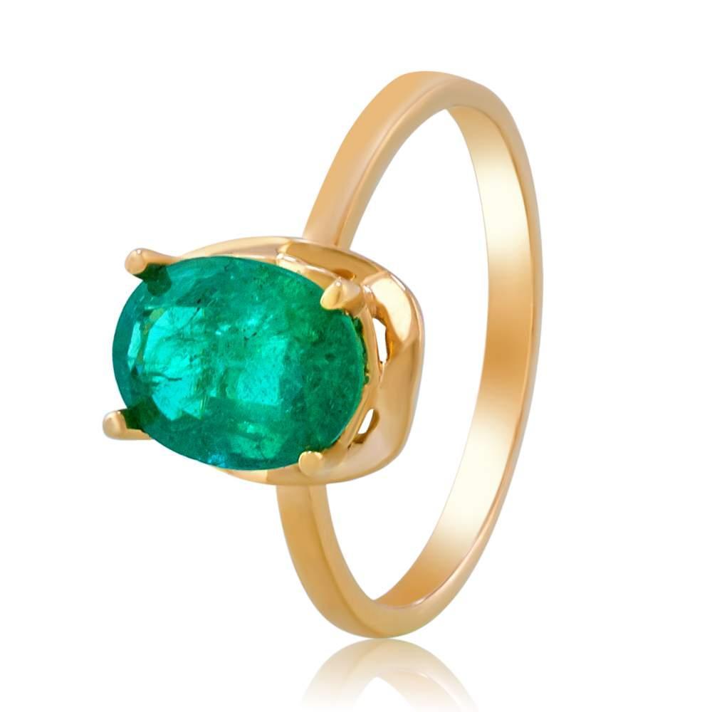 """Золотое кольцо с изумрудом """"Элла"""", КД7576СМАРАГД Eurogold"""