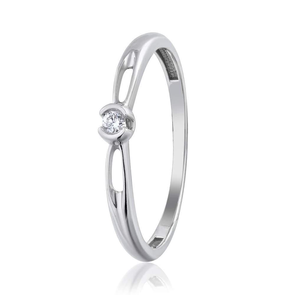 """Кольцо из белого золота с бриллиантом """"Барбара"""", КД7584/1 Eurogold"""