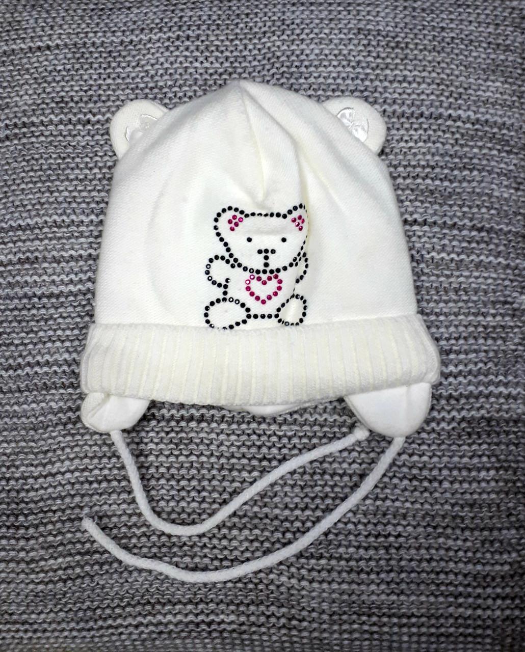 Шапка детская  на девочку весна-осень молочного цвета MAGROF (Польша) размер 42 44