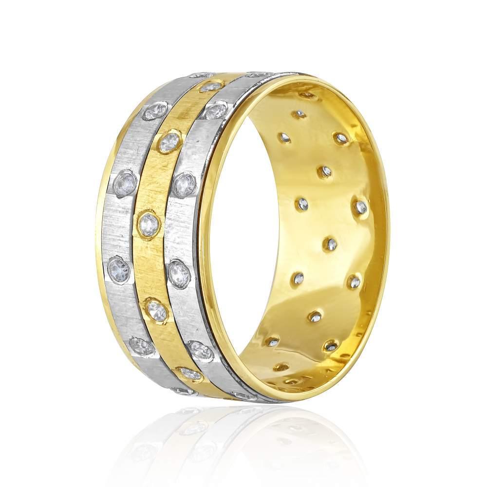 """Золотое обручальное кольцо """"Эксклюзив"""", комбинированное золото, КОА Eurogold"""
