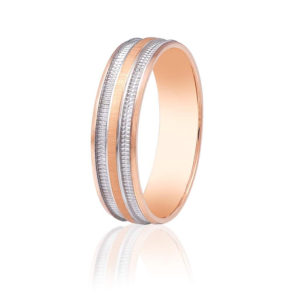Золотое обручальное кольцо протекторного типа полуматированое, КОА012 Eurogold