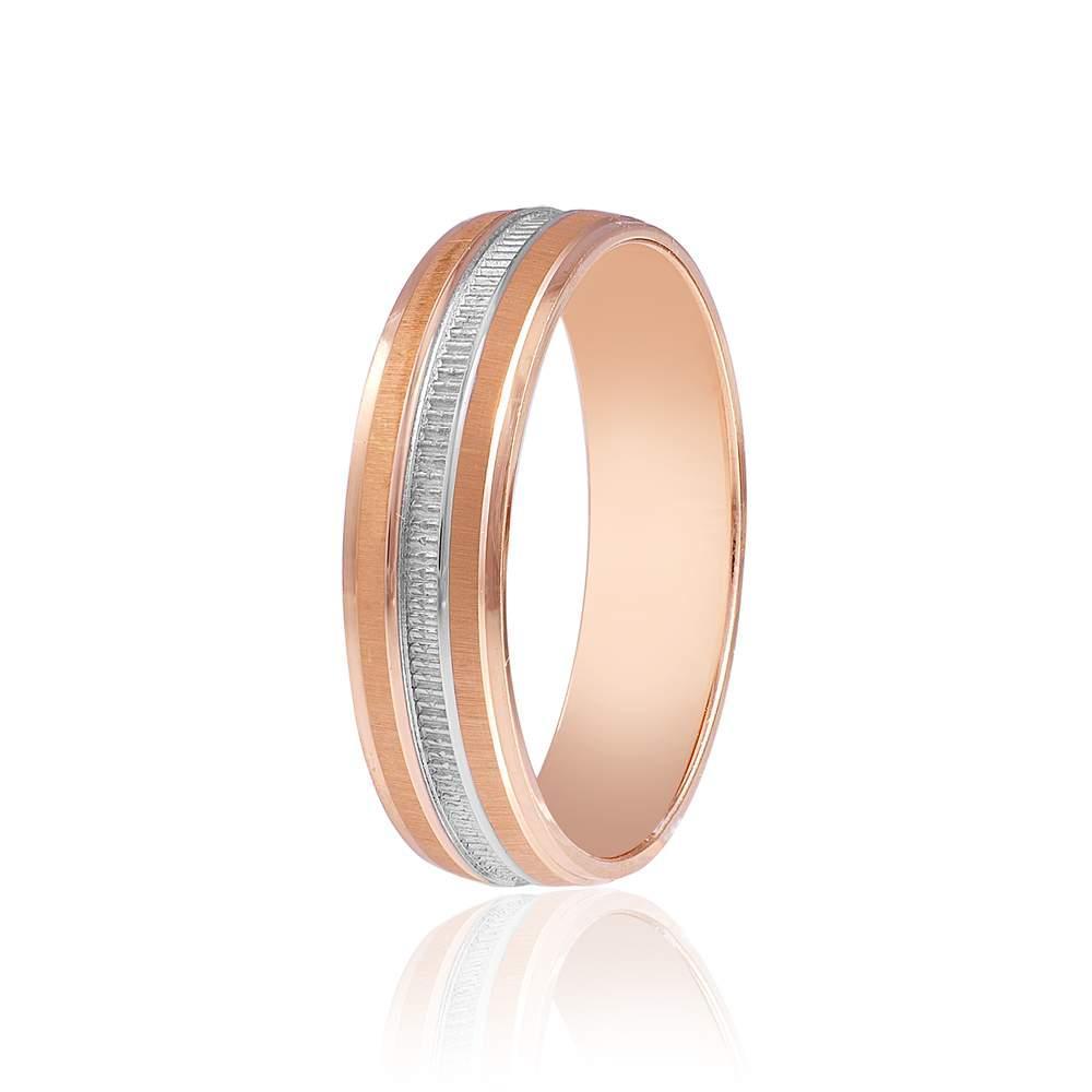 Золотое обручальное кольцо, полуматированое, комбинированное золото, КОА013 Eurogold
