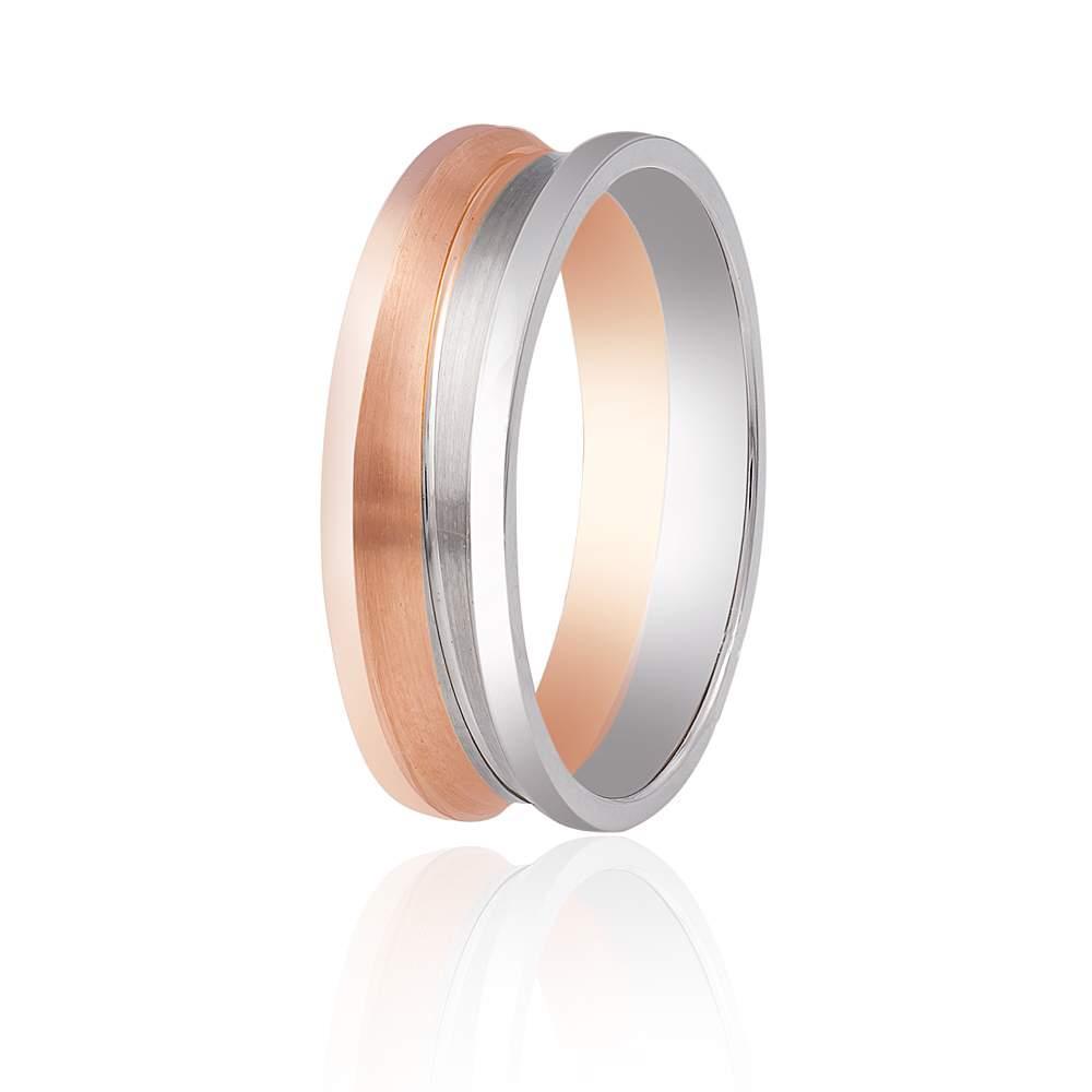 """Обручальное кольцо, рельефное """"Вена"""", комбинированное золото, КОА016 Eurogold"""