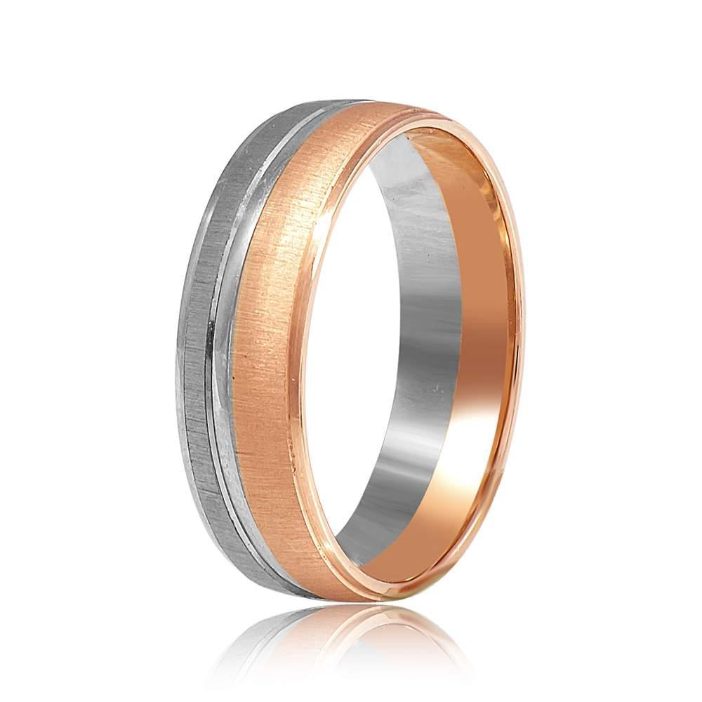 """Золотое обручальное кольцо """"Идеал"""", комбинированное золото, КОА021 Eurogold"""