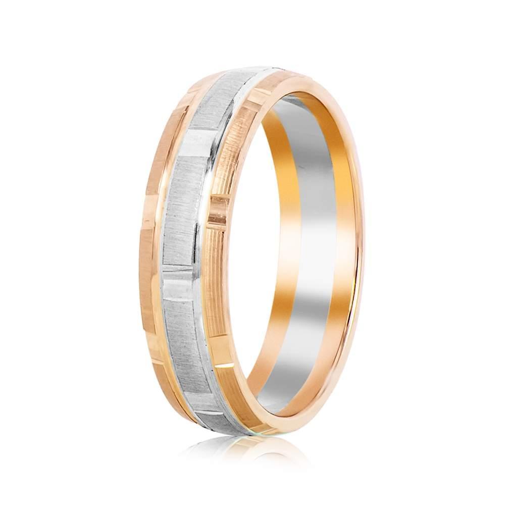 """Обручальное кольцо """"Канары"""", комбинированное золото, КОА025 Eurogold"""