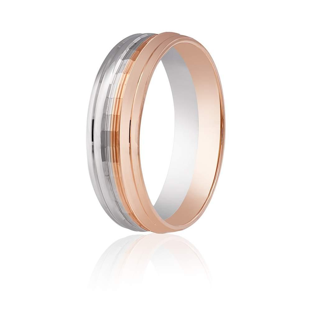 Золотое обручальное кольцо фигурное,комбинированное золото, КОА036 Eurogold