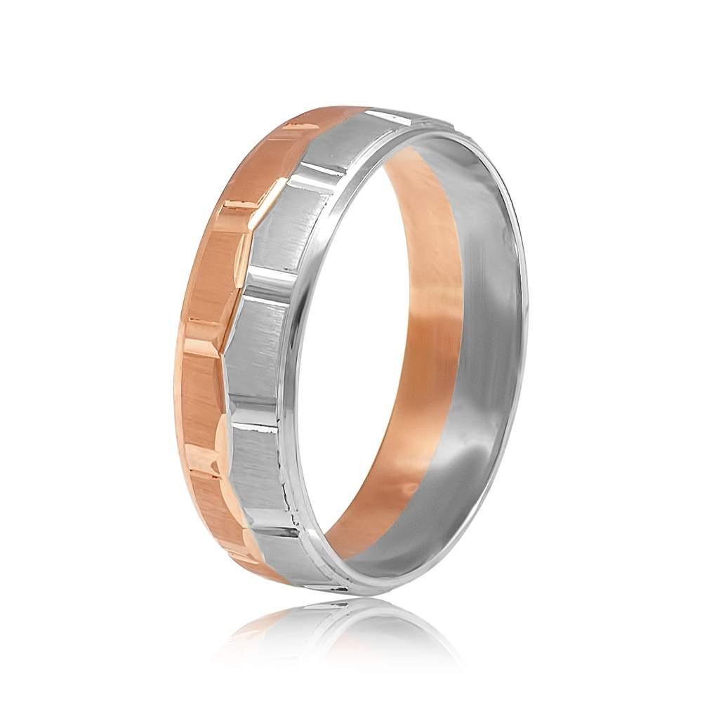 Золотое обручальное кольцо, белое и красное золото, КОА037 Eurogold