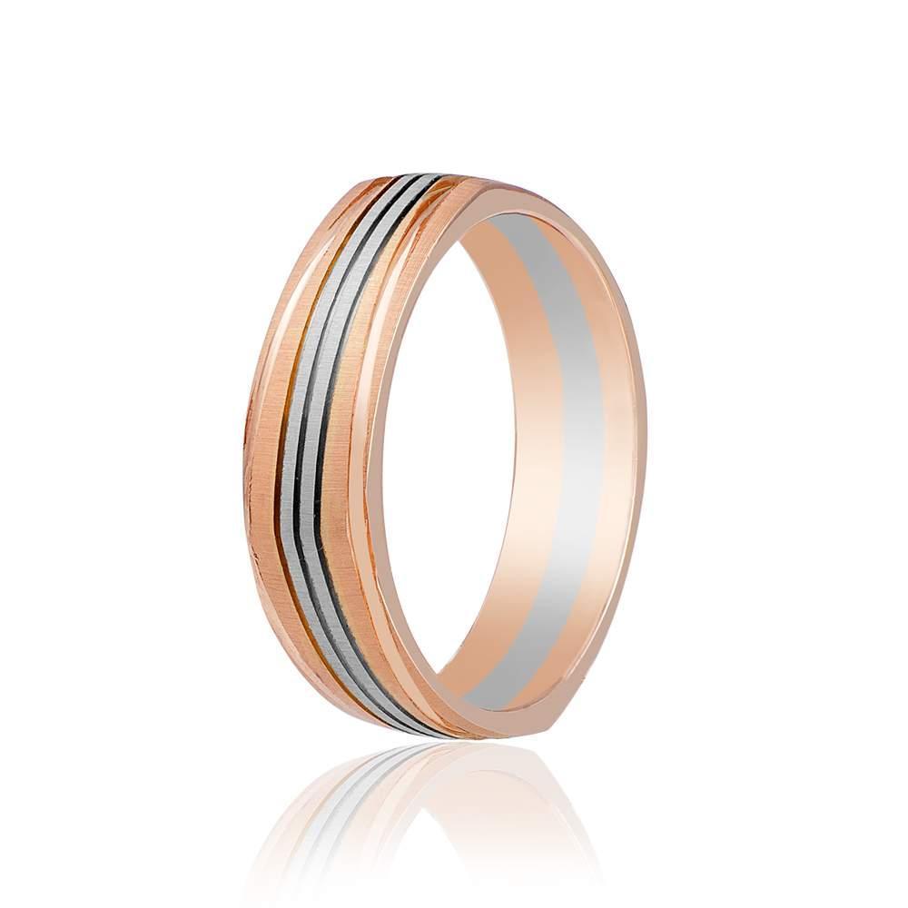 Золотое обручальное кольцо с продольными насечками, комбинированное золото, КОА041 Eurogold