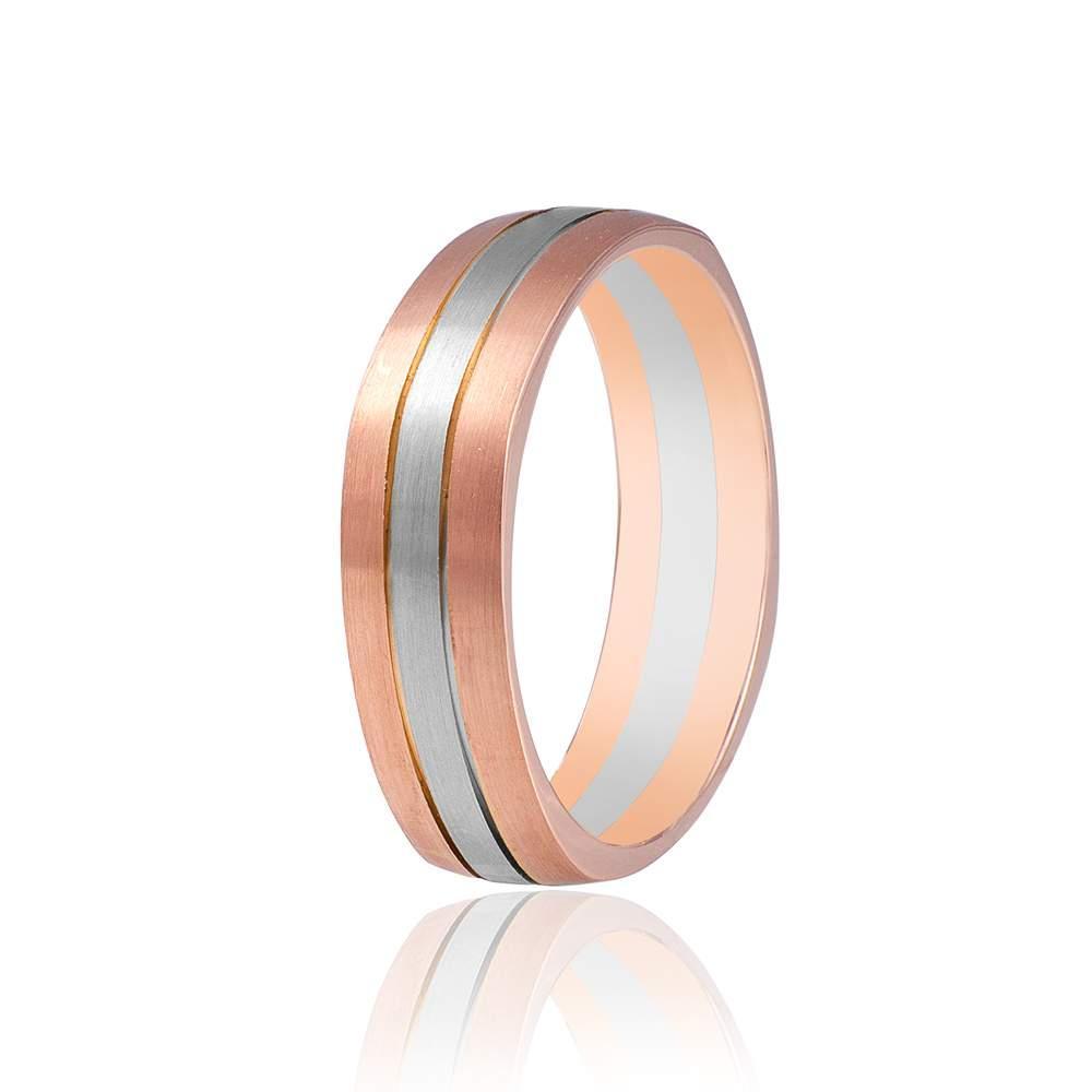 Золотое обручальное кольцо, комбинированное золото, КОА042 Eurogold