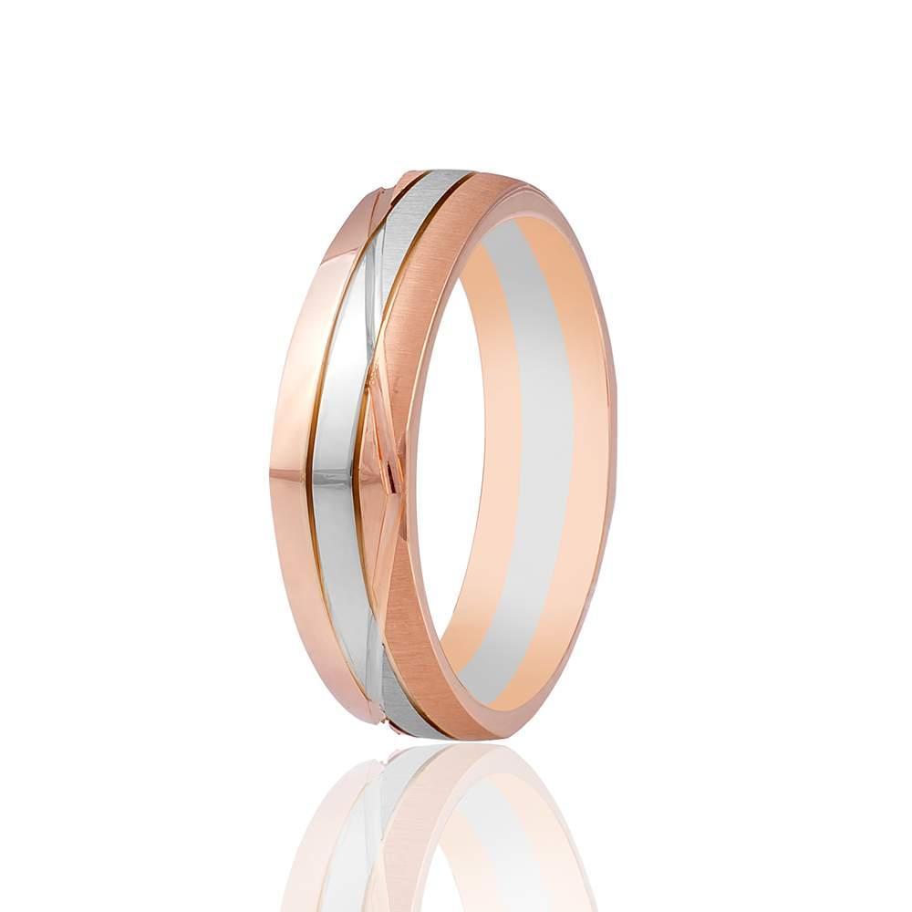 Золотое обручальное кольцо, фигурное, комбинированное золото, КОА043 Eurogold