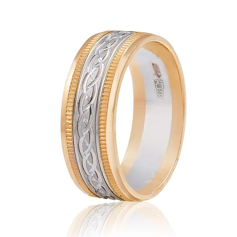 """Золотое обручальное кольцо """"Оригинальность"""", комбинированное золото, КОА044 Eurogold"""