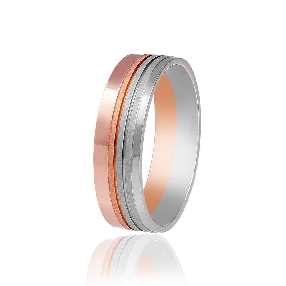 Золотое обручальное кольцо с несимметричным орнаментом, комбинированное золото, КОА045 Eurogold