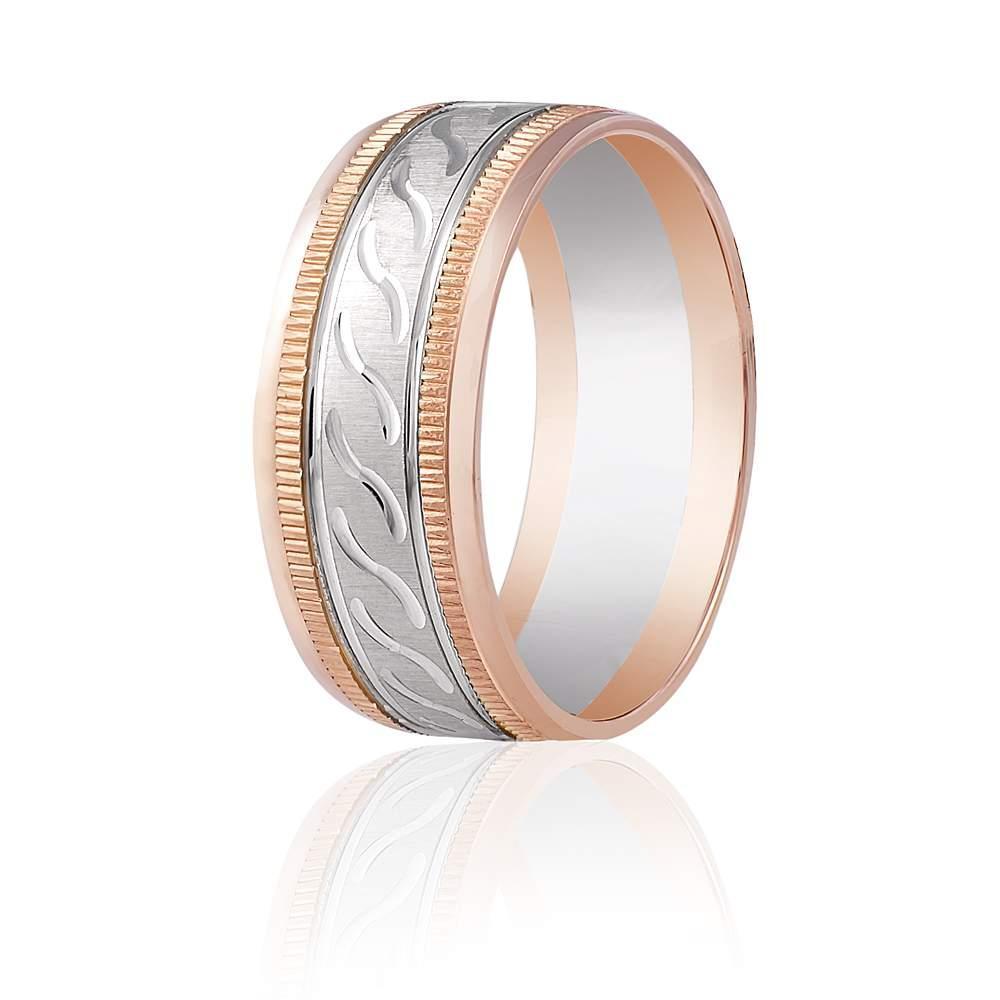 Золотое обручальное кольцо, волнистый орнамент, КОА047 Eurogold