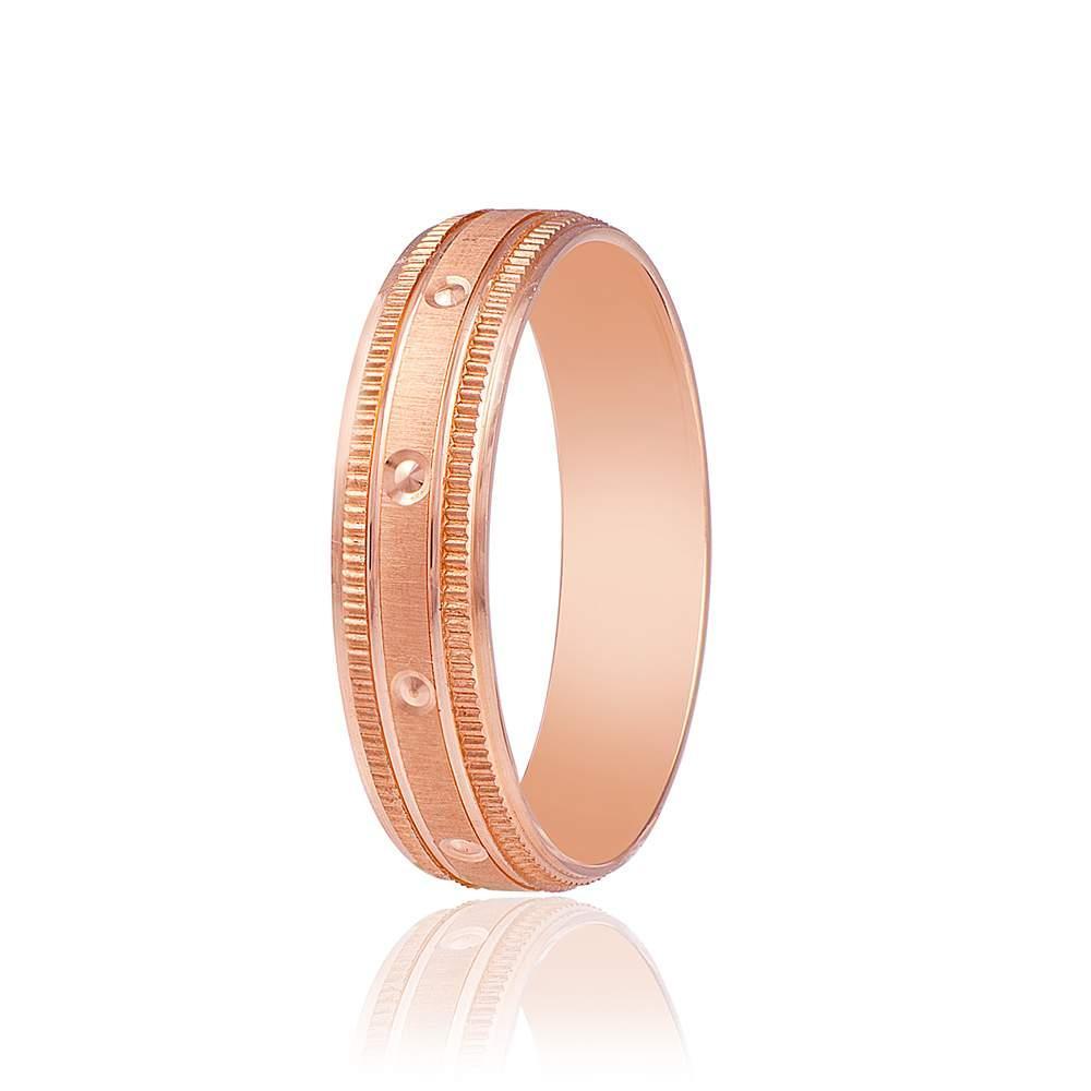 """Золотое обручальное кольцо """"Винтаж"""", красное золото, КОА052 Eurogold"""