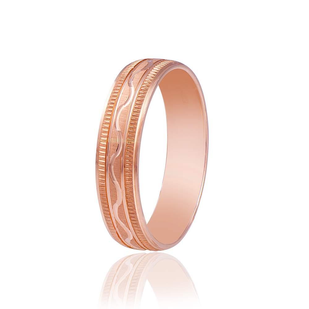 Золотое обручальное кольцо с волнистым орнаментом, красное золото, КОА054 Eurogold