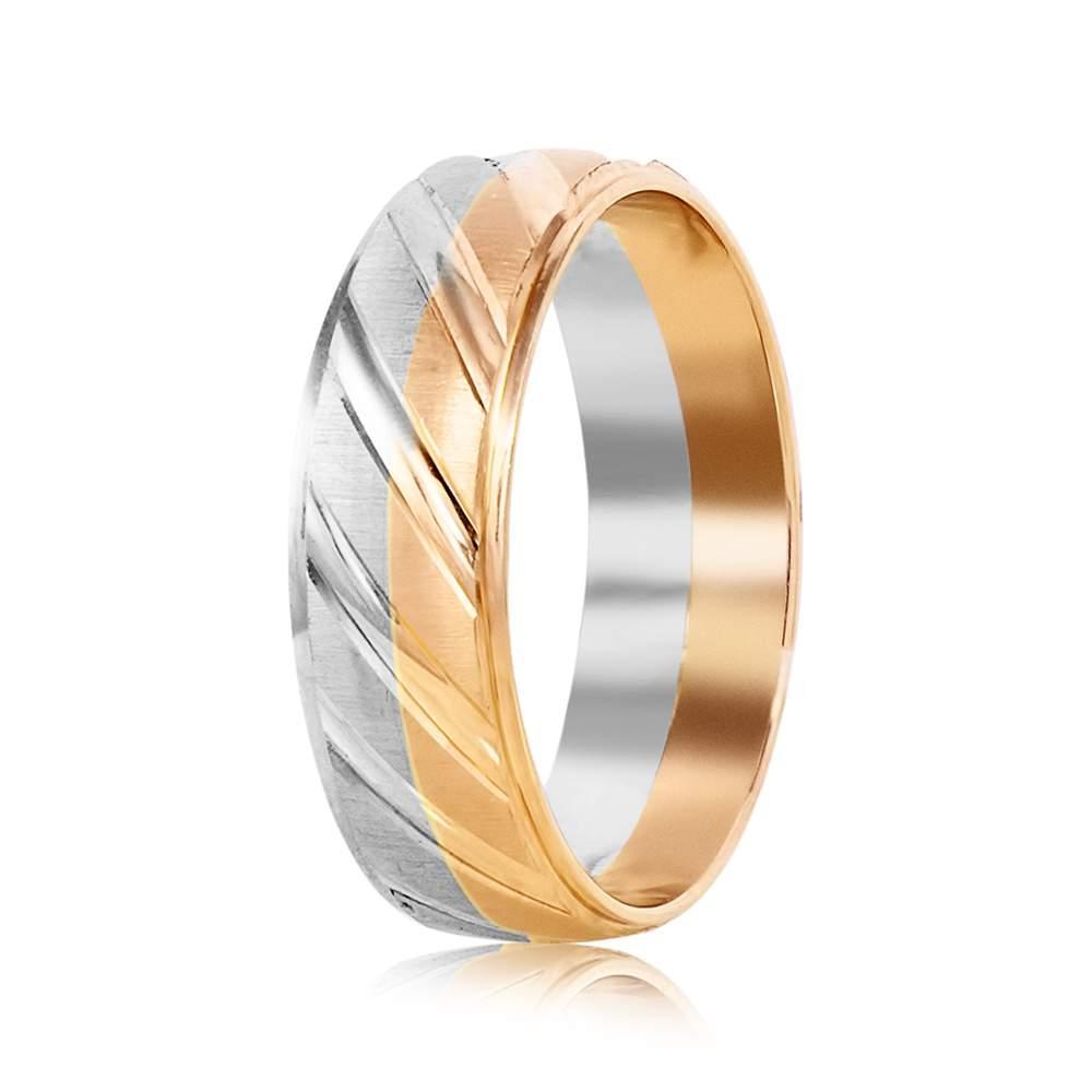 Золотое обручальное кольцо, комбинированное золото, КОА062 Eurogold