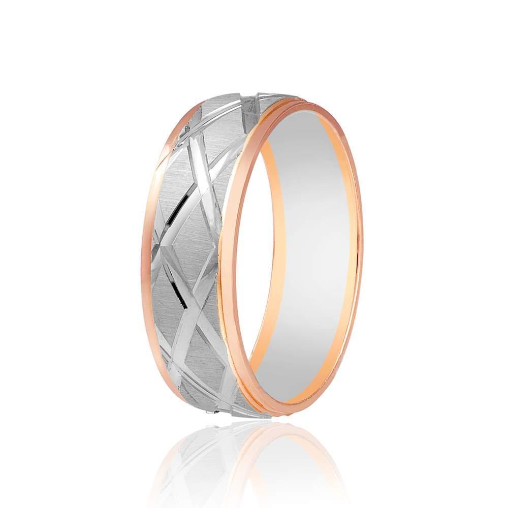 Обручальное кольцо с сетчатым орнаментом, комбинированное золото, КОА071 edem