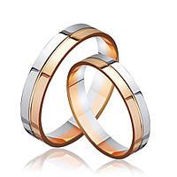 Золотое обручальное кольцо, комбинированное золото, КОА092 Eurogold