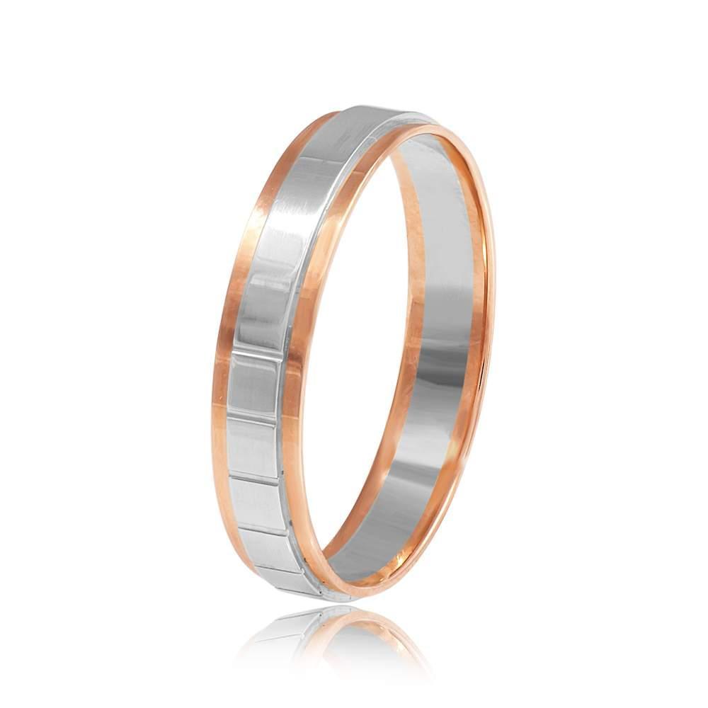 Золотое обручальное кольцо в классическом стиле, комбинированное золото, КОА108 Eurogold
