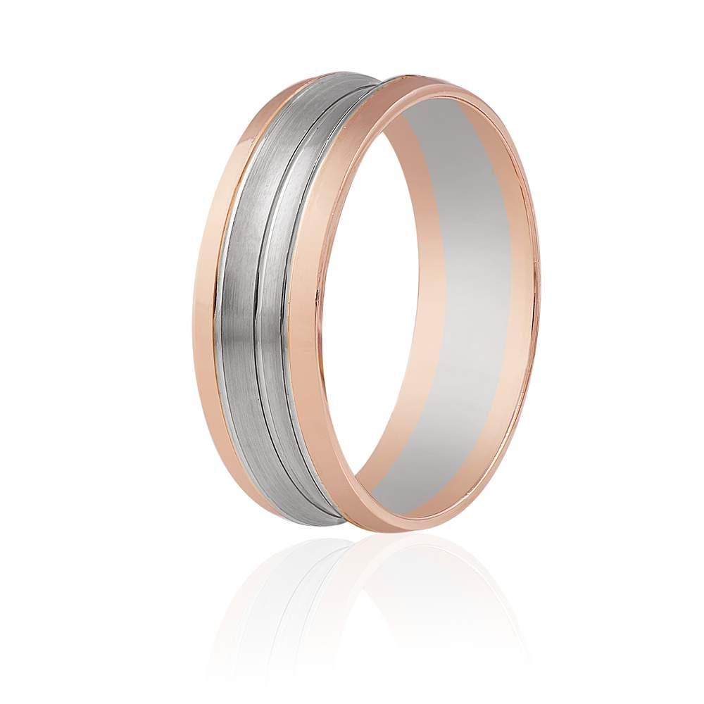 """Золотое обручальное кольцо """"Фигурное"""", комбинированное золото, КОА111 Eurogold"""