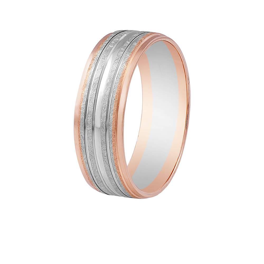 Золотое обручальнное кольцо полуматированное с насечками, комбинированное золото, КОА113 Eurogold