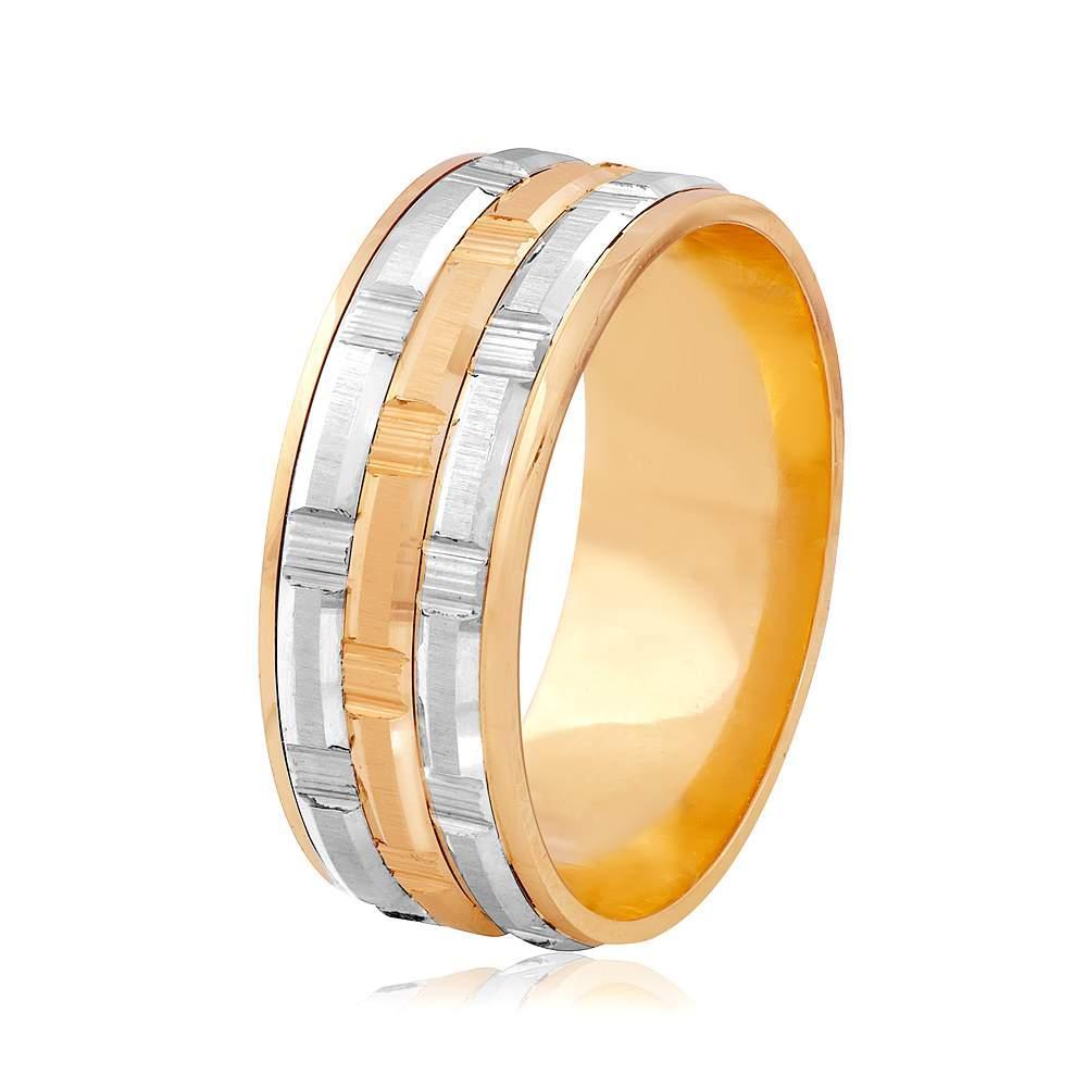 Золотое обручальное кольцо, комбинированное золото, КОА114 Eurogold