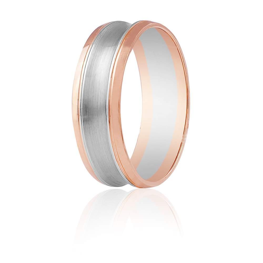 """Золотое обручальное кольцо """"Фигурное"""", комбинированное золото, КОА116 Eurogold"""