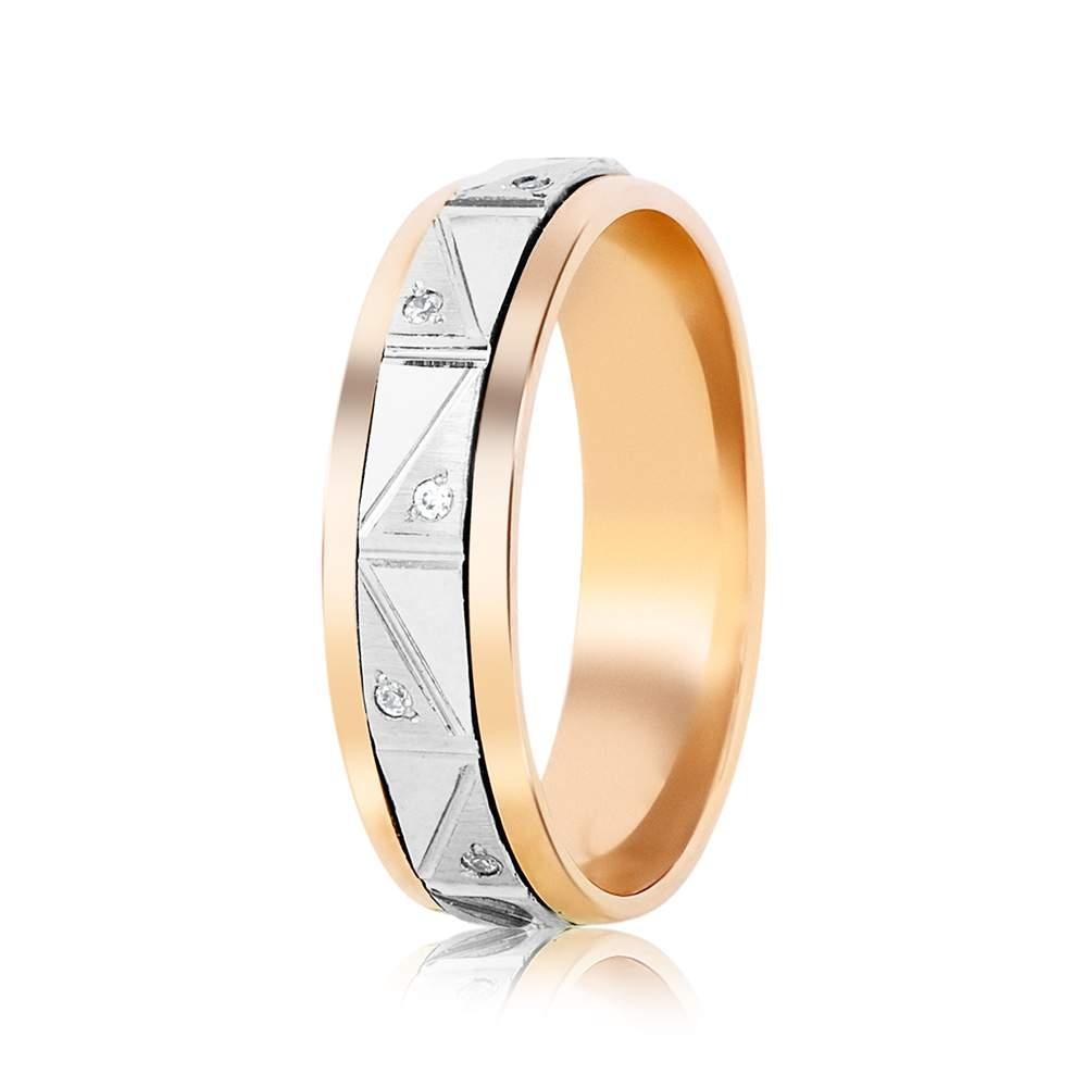 Кольцо обручальное из комбинированного золота с цирконами, КОА117 Eurogold