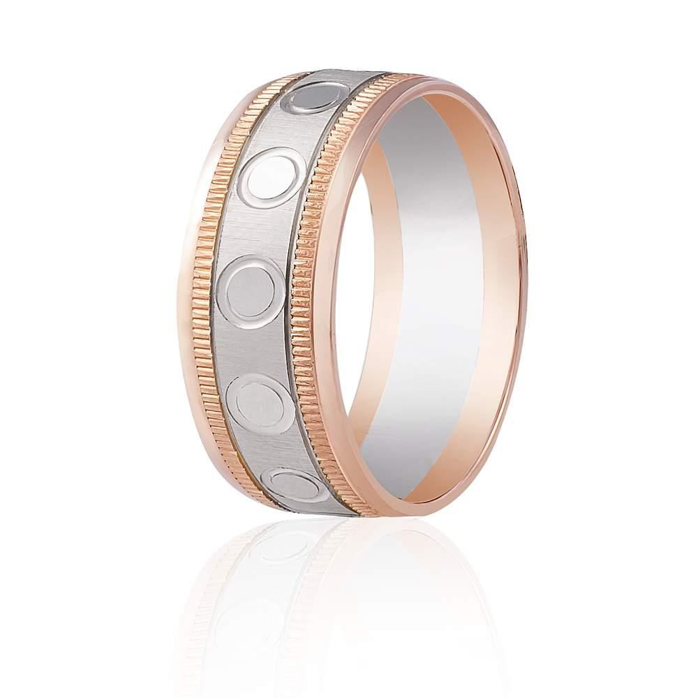 Золотое обручальное кольцо с мелкими насечками и круглым орнаментом, комбинированное золото, КОА121 Eurogold