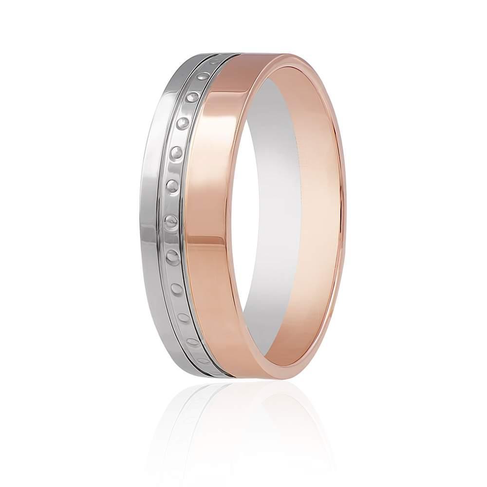 """Золотое обручальное кольцо с мелким орнаментом """"Глянец"""", комбинированное золото, КОА124 Eurogold"""