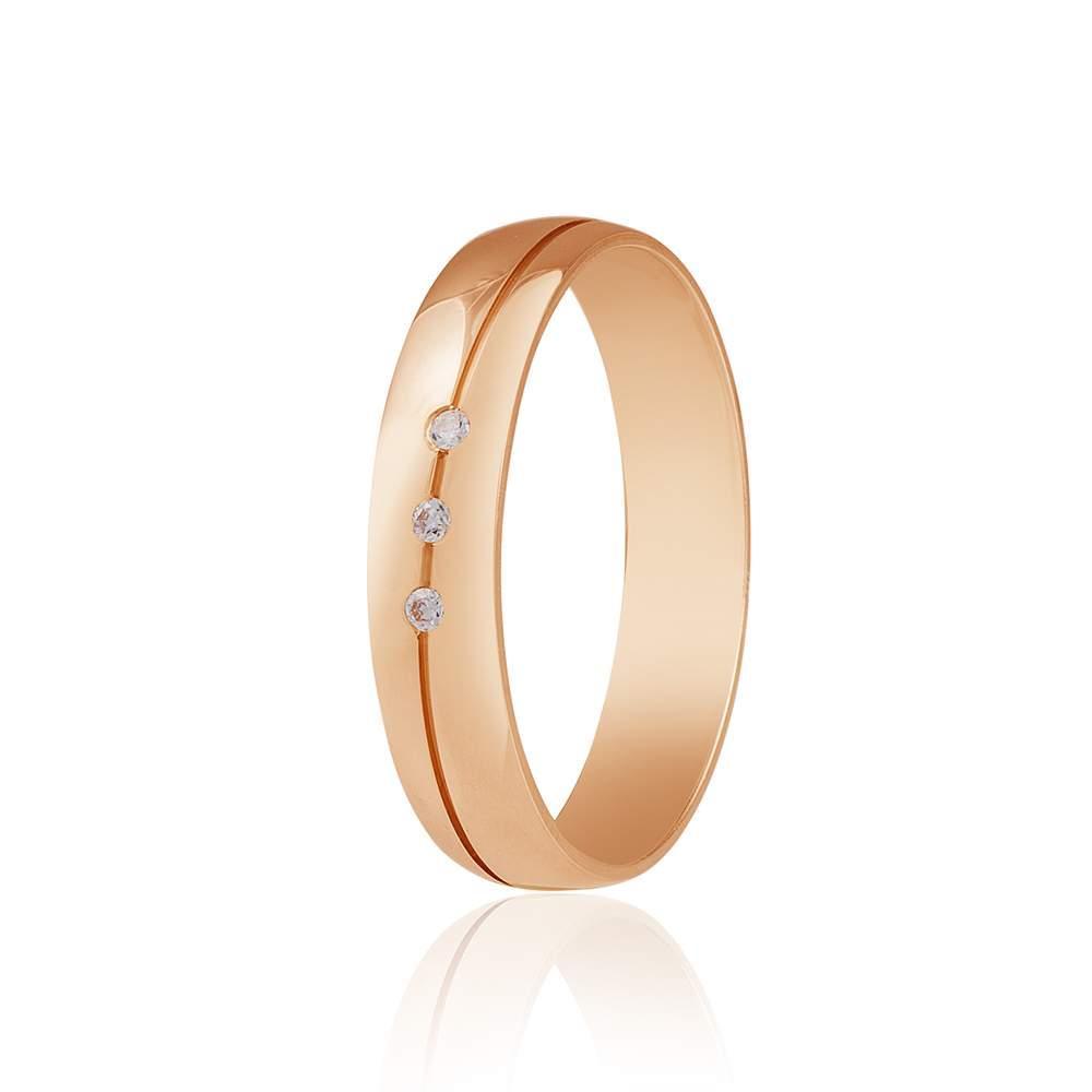 Золотое обручальное кольцо, диагональная полоса с тремя цирконами, КОА126 Eurogold