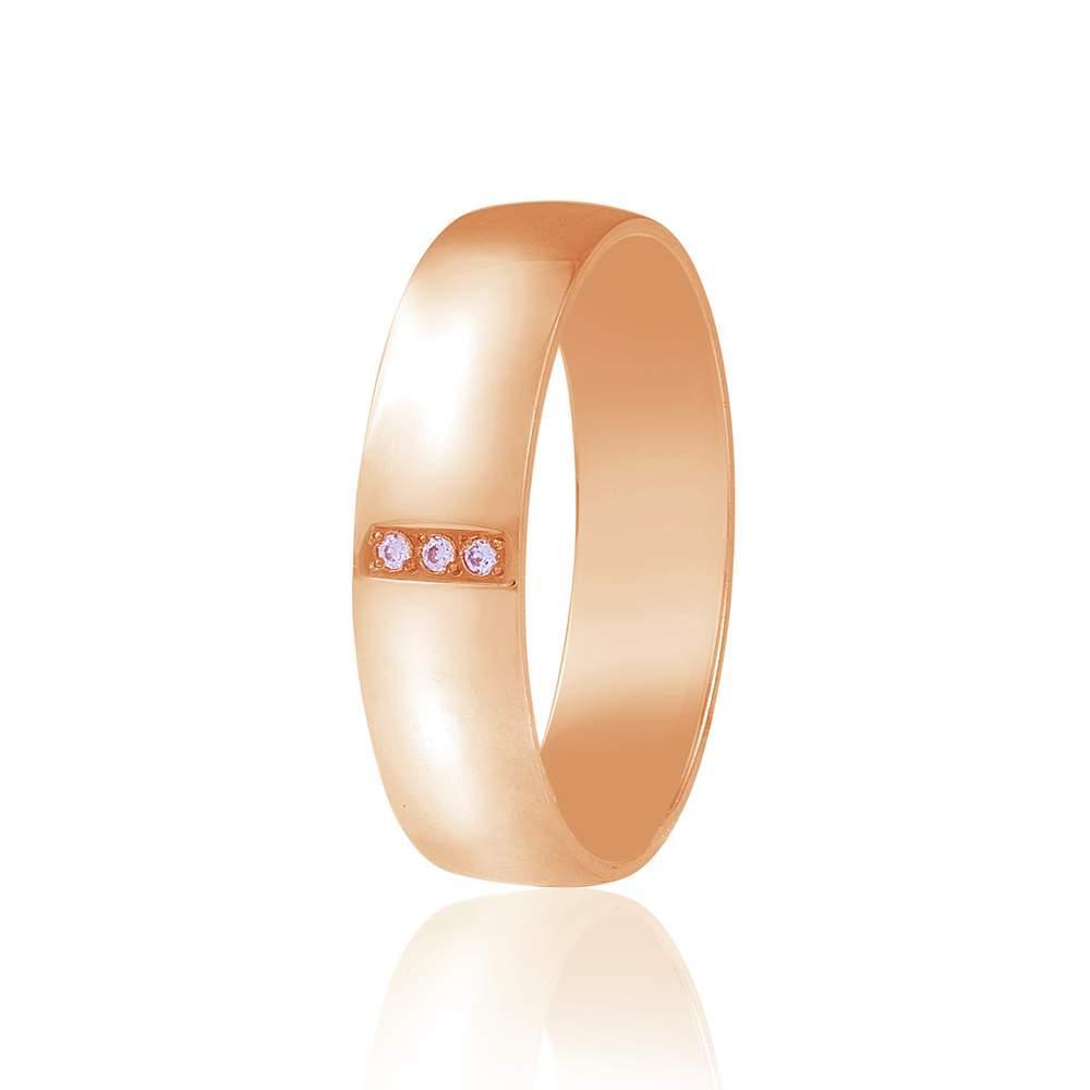 Золотое обручальное кольцо с тремя цирконами поперечно, КОА128 Eurogold