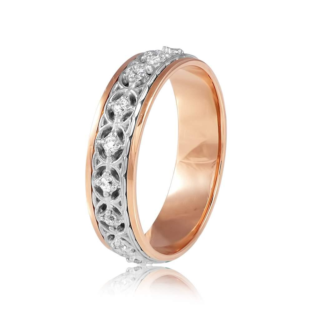 """Обручальное кольцо дорожка с цирконами, резное """"Восторг"""", комбинированное золото, КОА134 Eurogold"""