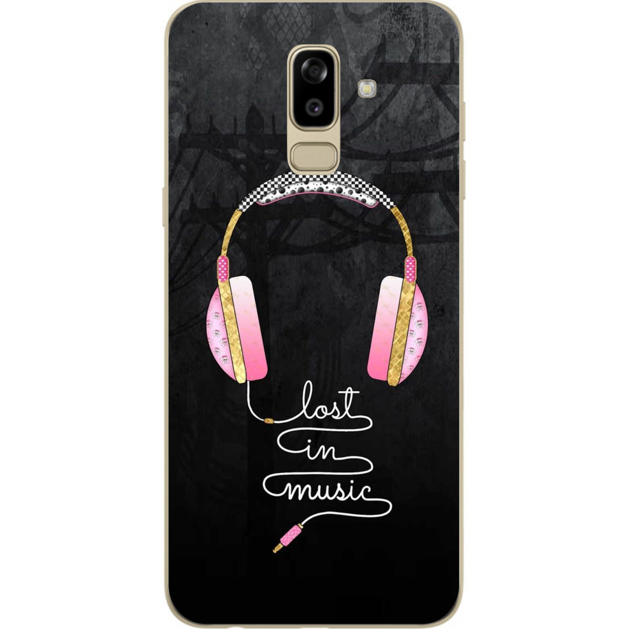 Силіконовий чохол бампер для Samsung J810F Galaxy J8 2018 з картинкою Рожеві навушники