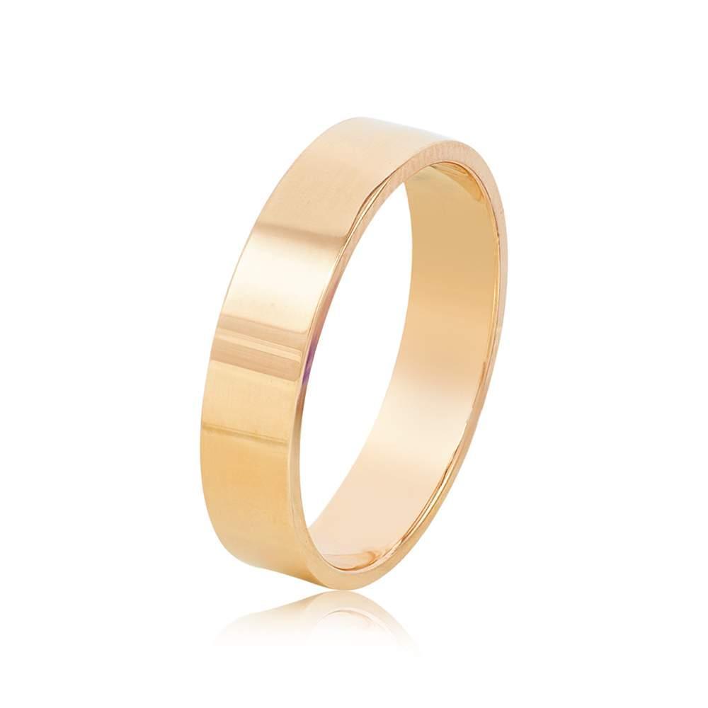 Золотое обручальное кольцо, красное золото, КОА136 Eurogold