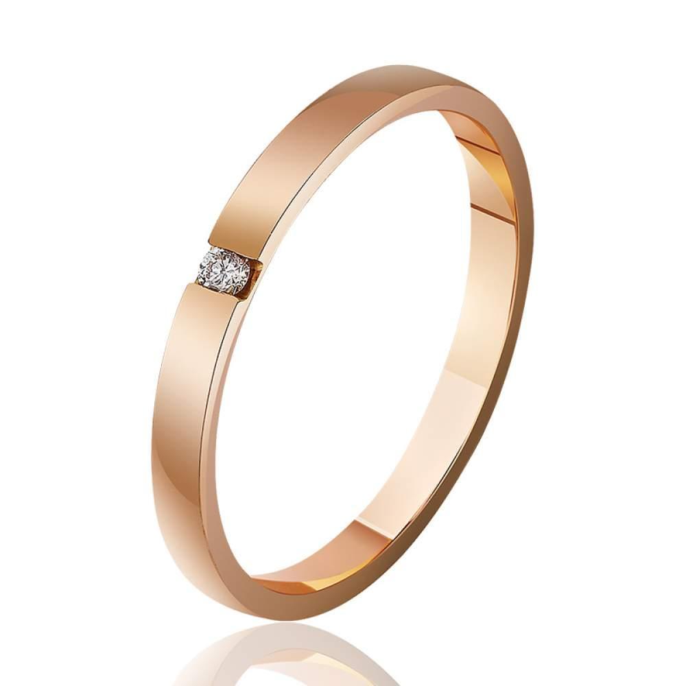 Золотое обручальное кольцо с бриллиантом, красное золото, КОА7103 Eurogold