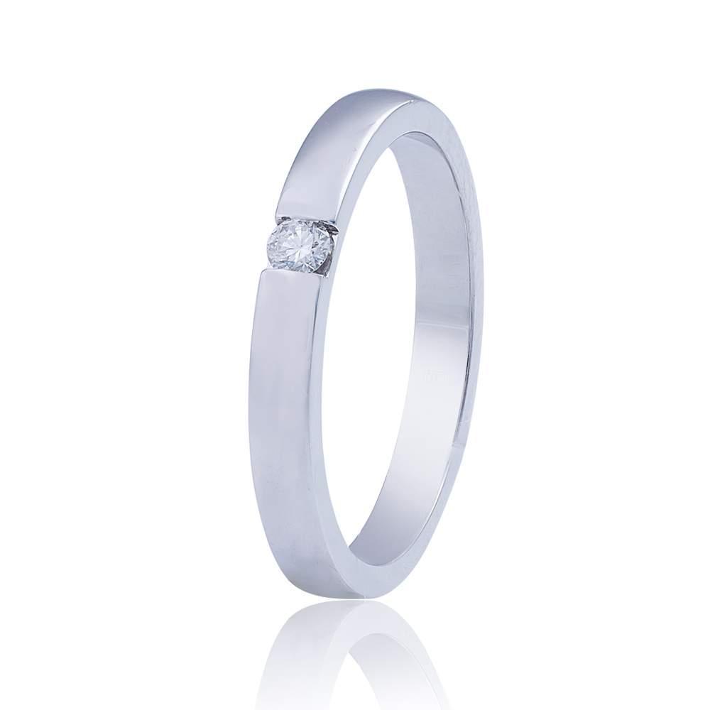 Золотое обручальное кольцо с бриллиантом, белое золото, КОА7104/1 Eurogold