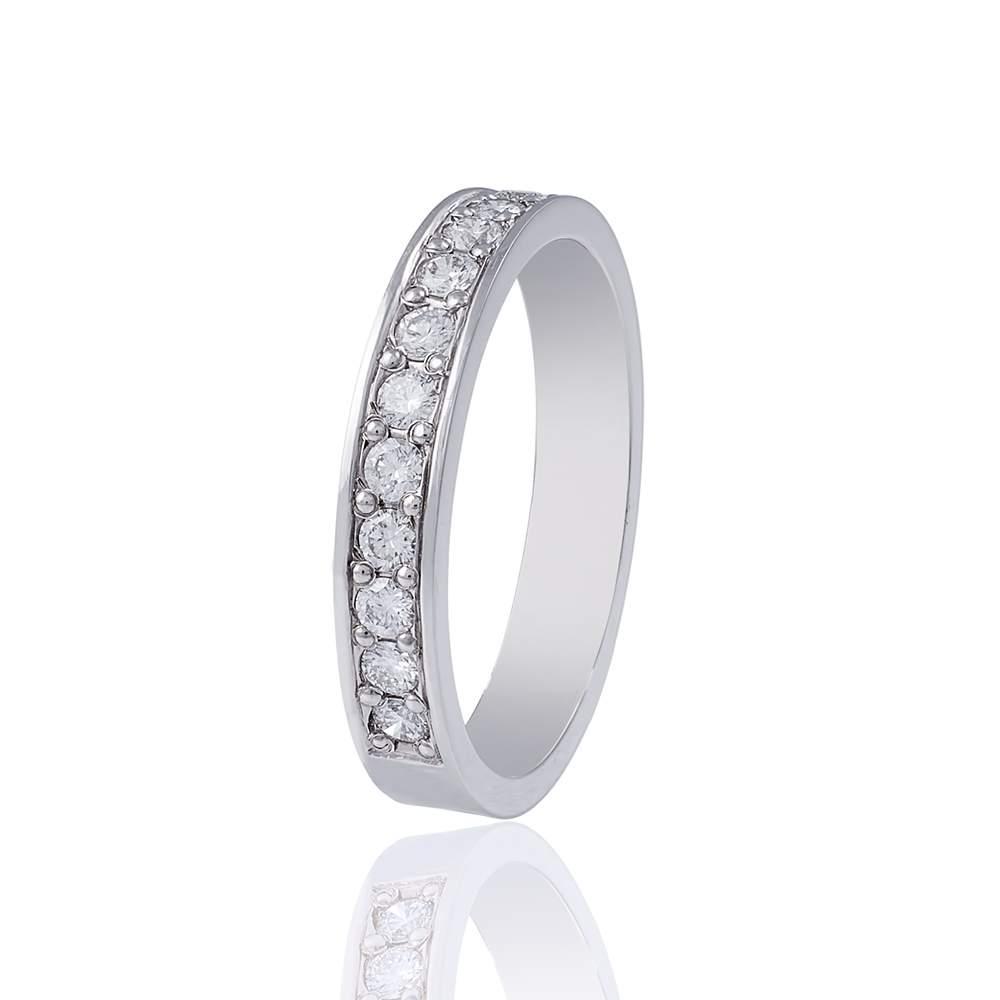 Обручальное кольцо-дорожка из белого золота с бриллиантами, КОА7132/1 Eurogold